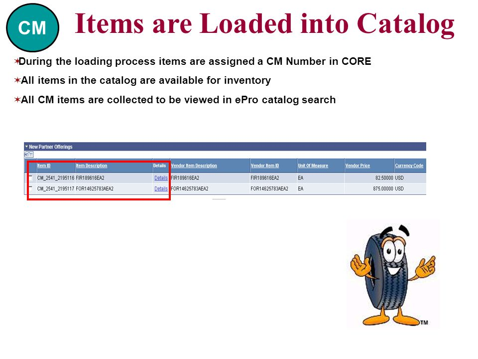  During the loading process items are assigned a CM Number in CORE  All items in the catalog are available for inventory  All CM items are collected to be viewed in ePro catalog search Items are Loaded into Catalog CM