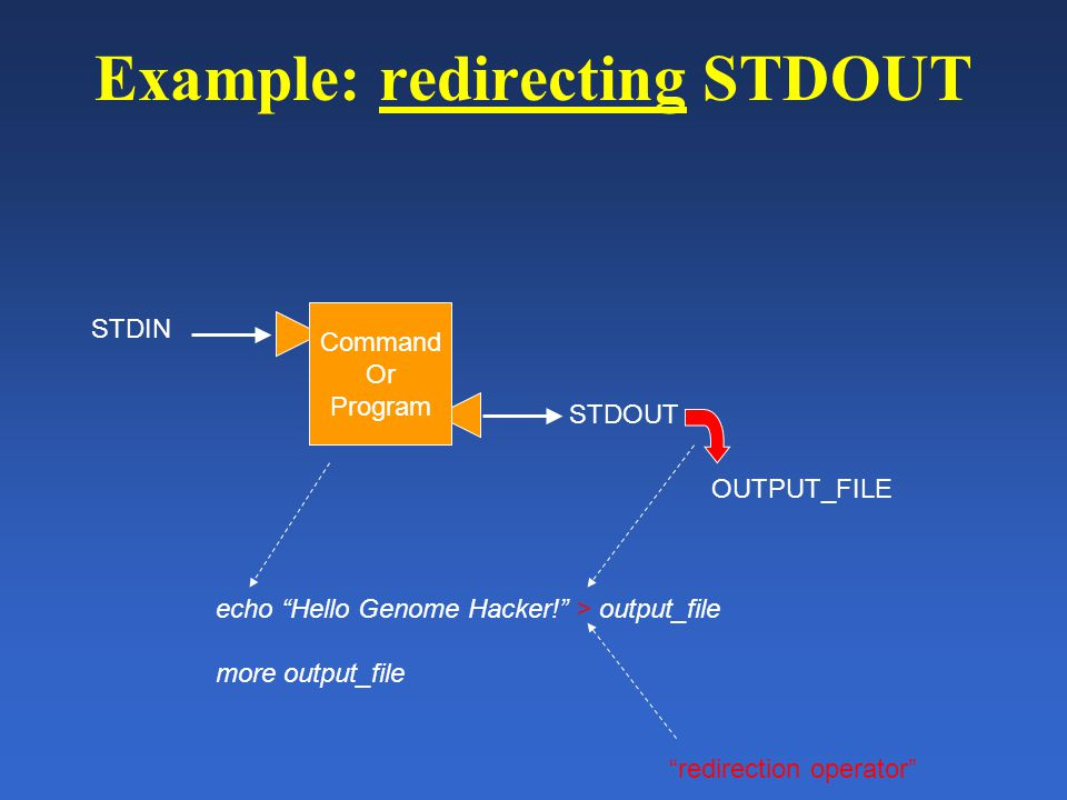 Example: redirecting STDOUT Command Or Program STDIN STDOUT echo Hello Genome Hacker! > output_file more output_file OUTPUT_FILE redirection operator