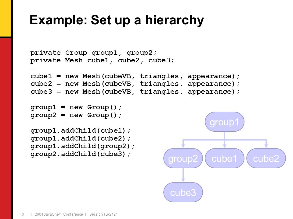 | 2004 JavaOne SM Conference | Session TS-2121 43 Example: Set up a hierarchy private Group group1, group2; private Mesh cube1, cube2, cube3; … cube1 = new Mesh(cubeVB, triangles, appearance); cube2 = new Mesh(cubeVB, triangles, appearance); cube3 = new Mesh(cubeVB, triangles, appearance); group1 = new Group(); group2 = new Group(); group1.addChild(cube1); group1.addChild(cube2); group1.addChild(group2); group2.addChild(cube3); group2 group1 cube1 cube3 cube2
