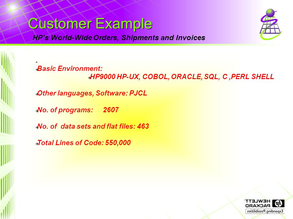 Customer Example HP's World-Wide Orders, Shipments and Invoices è è Basic Environment: è HP9000 HP-UX, COBOL, ORACLE, SQL, C,PERL SHELL è Other languages, Software: PJCL è No.