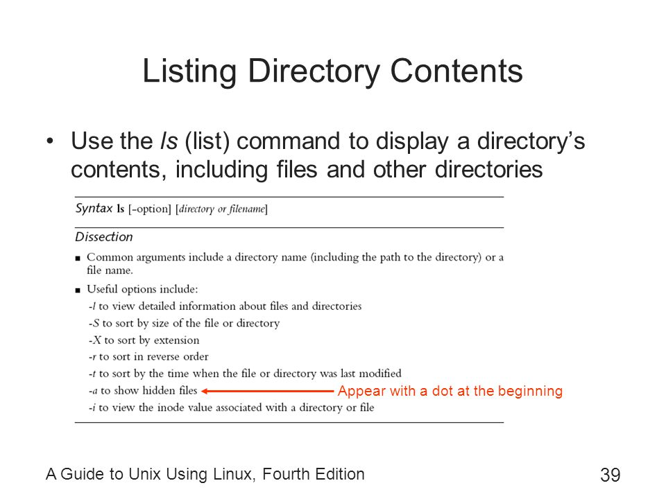 A Guide to Unix Using Linux, Fourth Edition 39 Listing Directory Contents Use the ls (list) command to display a directory's contents, including files
