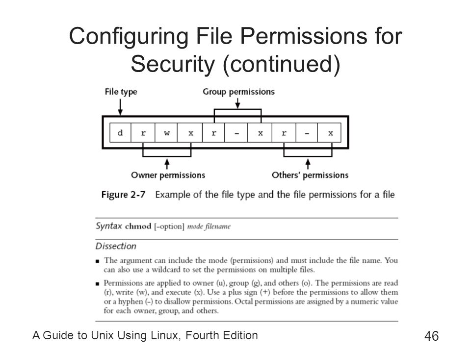 A Guide to Unix Using Linux, Fourth Edition 46 Configuring File Permissions for Security (continued)