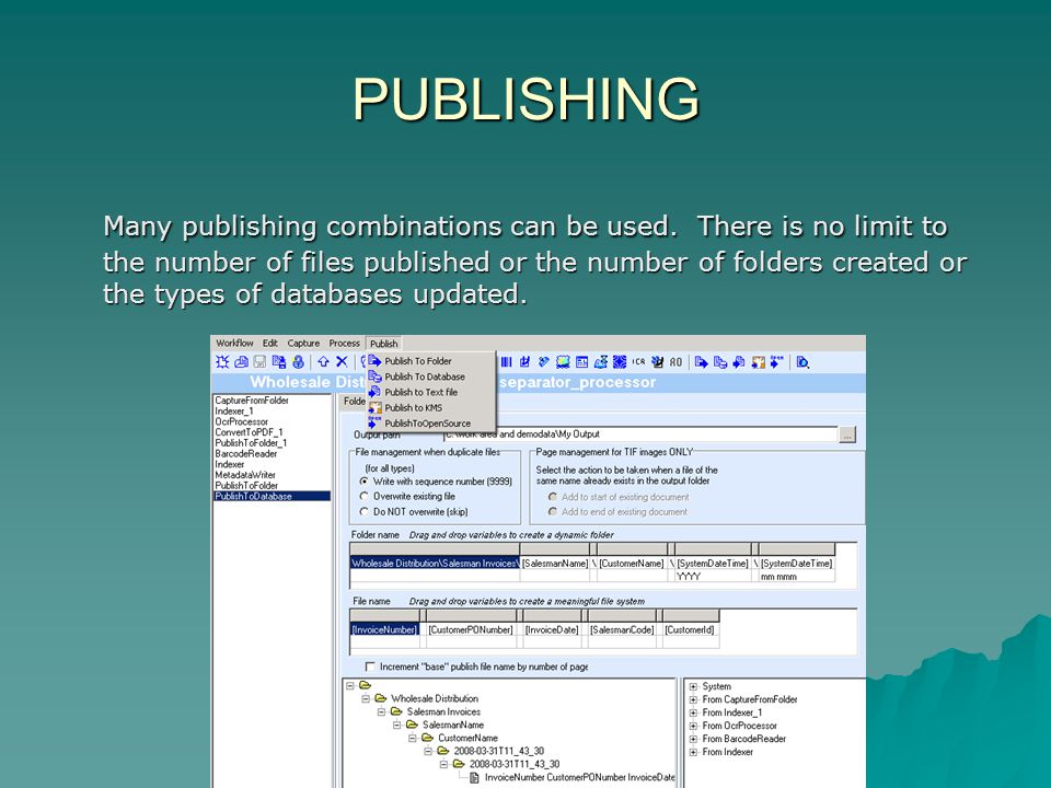 PUBLISHING Many publishing combinations can be used.