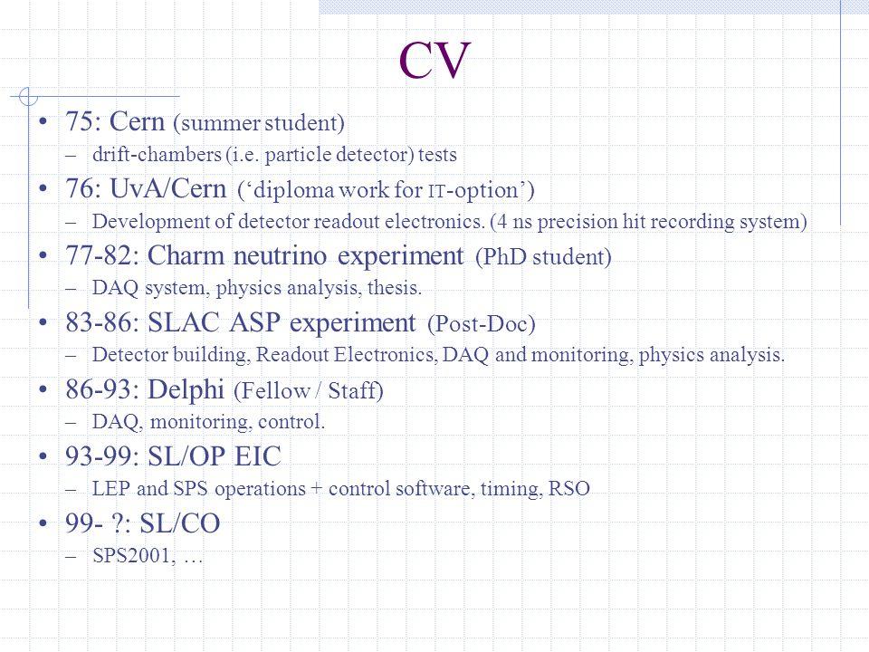 CV 75: Cern (summer student) –drift-chambers (i.e.