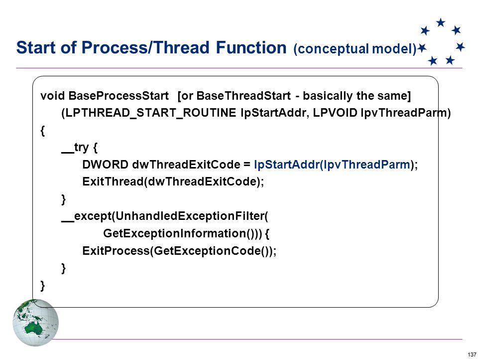 137 void BaseProcessStart [or BaseThreadStart - basically the same] (LPTHREAD_START_ROUTINE lpStartAddr, LPVOID lpvThreadParm) { __try { DWORD dwThreadExitCode = lpStartAddr(lpvThreadParm); ExitThread(dwThreadExitCode); } __except(UnhandledExceptionFilter( GetExceptionInformation())) { ExitProcess(GetExceptionCode()); } } Start of Process/Thread Function (conceptual model)