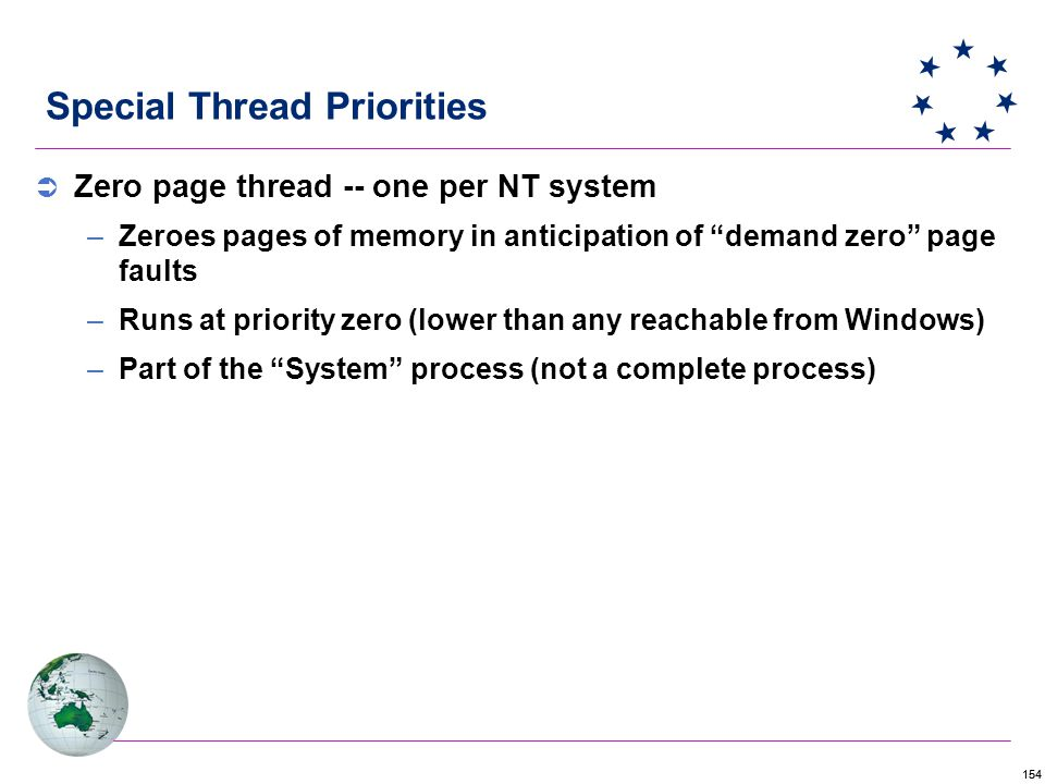 154 Special Thread Priorities  Zero page thread -- one per NT system –Zeroes pages of memory in anticipation of demand zero page faults –Runs at priority zero (lower than any reachable from Windows) –Part of the System process (not a complete process)