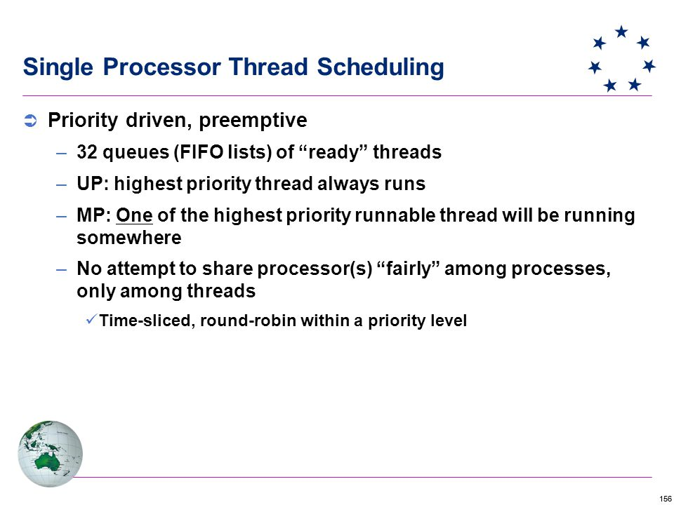 156  Priority driven, preemptive –32 queues (FIFO lists) of ready threads –UP: highest priority thread always runs –MP: One of the highest priority runnable thread will be running somewhere –No attempt to share processor(s) fairly among processes, only among threads Time-sliced, round-robin within a priority level Single Processor Thread Scheduling