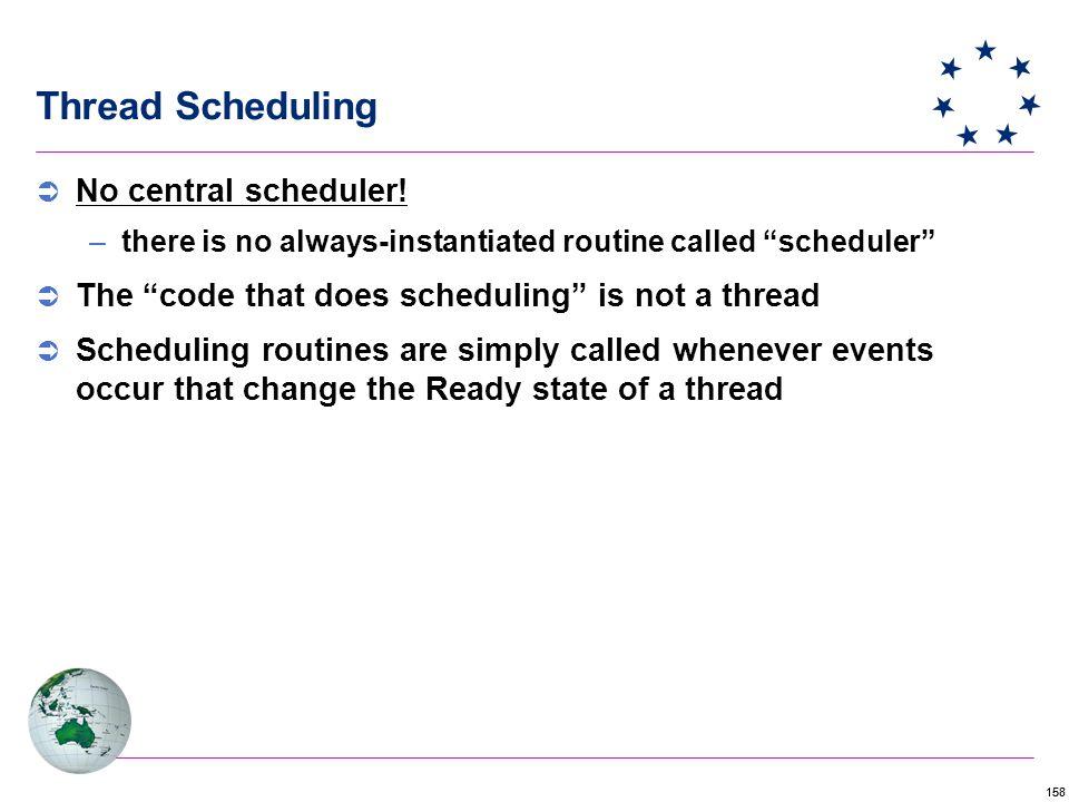 158 Thread Scheduling  No central scheduler.