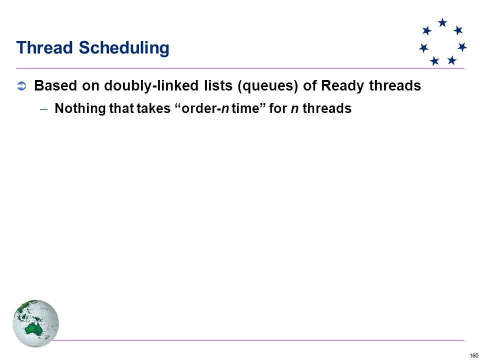 160 Thread Scheduling  Based on doubly-linked lists (queues) of Ready threads –Nothing that takes order-n time for n threads