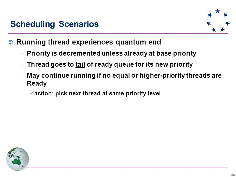 163 Scheduling Scenarios  Running thread experiences quantum end –Priority is decremented unless already at base priority –Thread goes to tail of ready queue for its new priority –May continue running if no equal or higher-priority threads are Ready action: pick next thread at same priority level