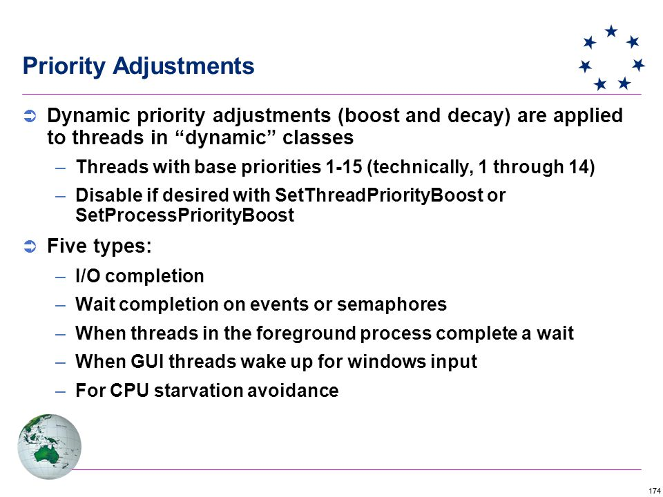 174 Priority Adjustments  Dynamic priority adjustments (boost and decay) are applied to threads in dynamic classes –Threads with base priorities 1-15 (technically, 1 through 14) –Disable if desired with SetThreadPriorityBoost or SetProcessPriorityBoost  Five types: –I/O completion –Wait completion on events or semaphores –When threads in the foreground process complete a wait –When GUI threads wake up for windows input –For CPU starvation avoidance