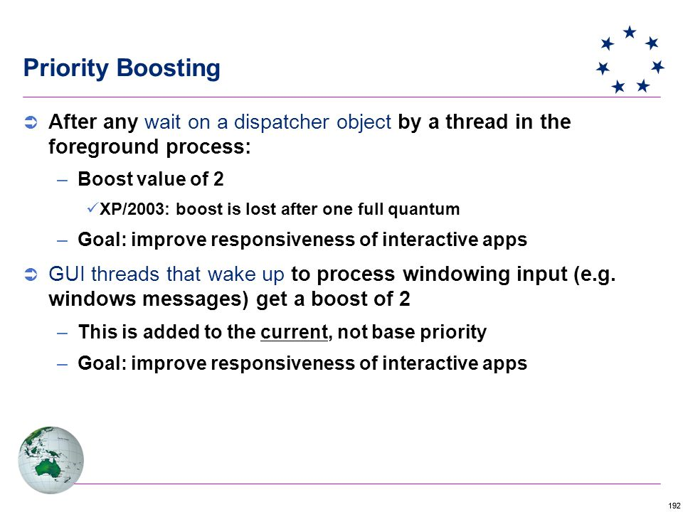 192  After any wait on a dispatcher object by a thread in the foreground process: –Boost value of 2 XP/2003: boost is lost after one full quantum –Goal: improve responsiveness of interactive apps  GUI threads that wake up to process windowing input (e.g.