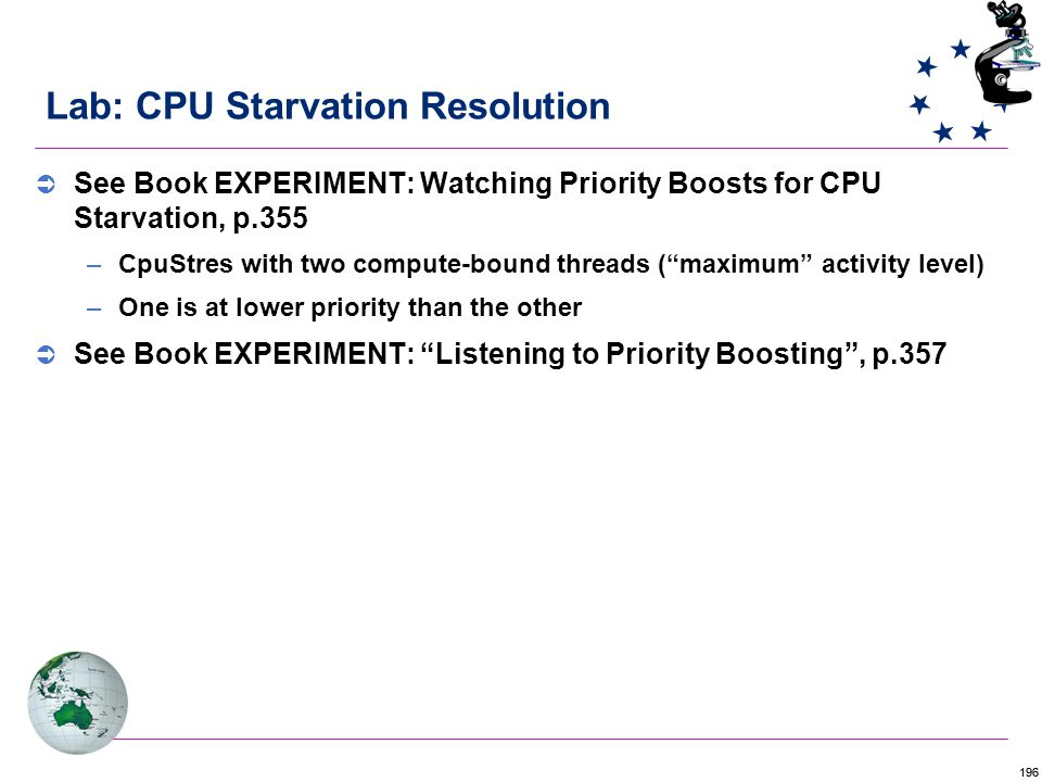 196 Lab: CPU Starvation Resolution  See Book EXPERIMENT: Watching Priority Boosts for CPU Starvation, p.355 –CpuStres with two compute-bound threads ( maximum activity level) –One is at lower priority than the other  See Book EXPERIMENT: Listening to Priority Boosting , p.357