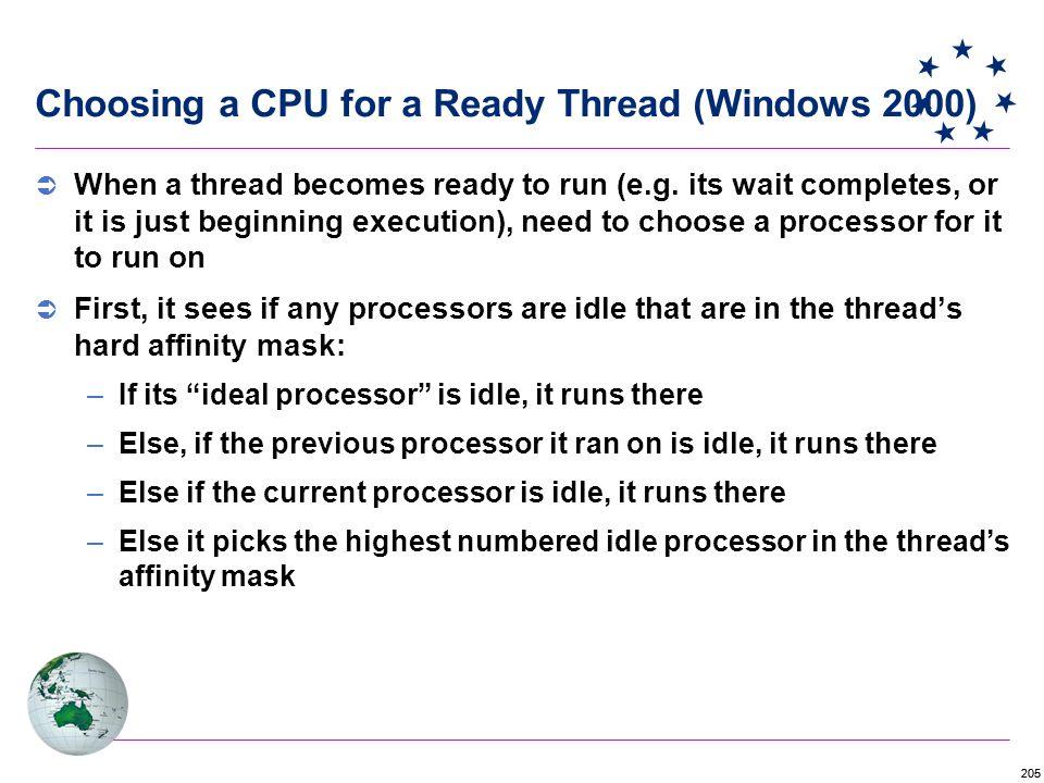 205 Choosing a CPU for a Ready Thread (Windows 2000)  When a thread becomes ready to run (e.g.