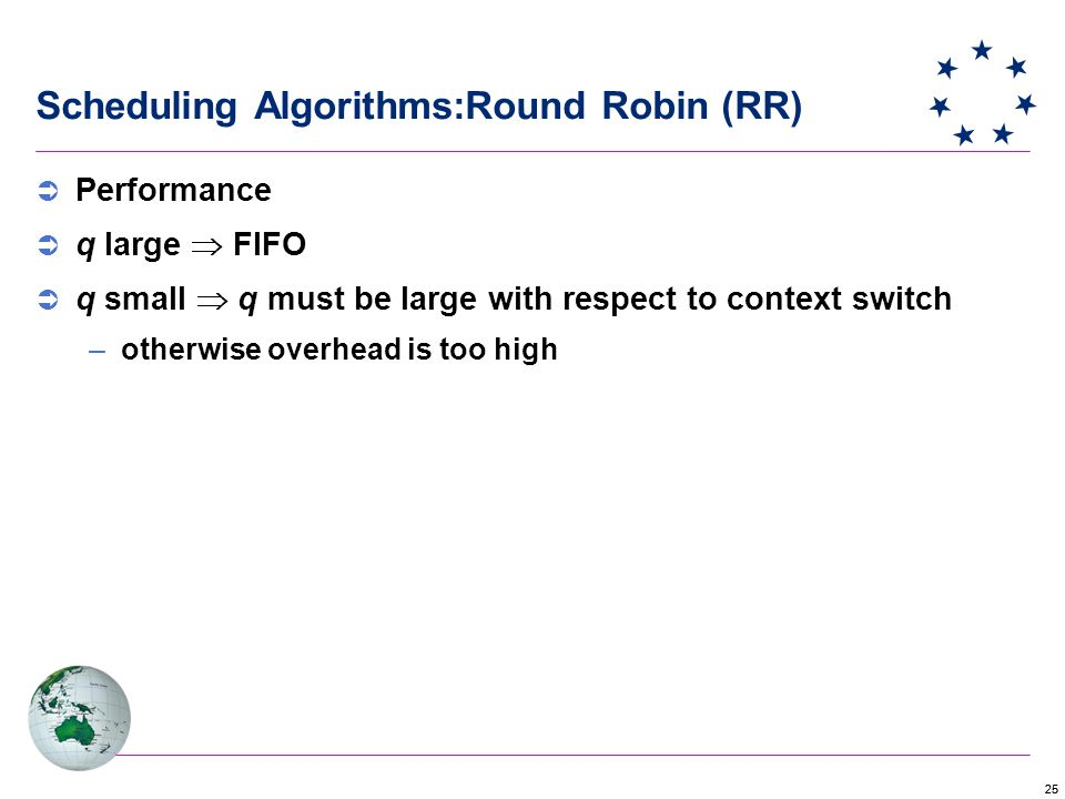 25 Scheduling Algorithms:Round Robin (RR)  Performance  q large  FIFO  q small  q must be large with respect to context switch –otherwise overhead is too high