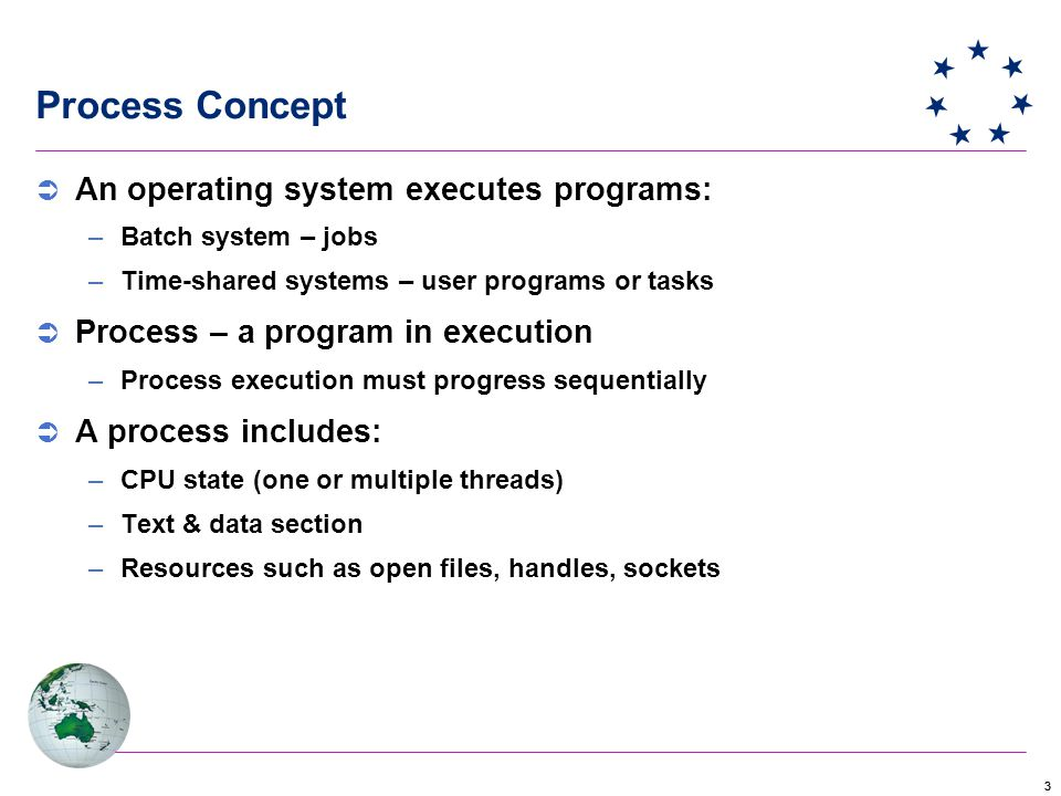 33 Process Concept  An operating system executes programs: –Batch system – jobs –Time-shared systems – user programs or tasks  Process – a program in execution –Process execution must progress sequentially  A process includes: –CPU state (one or multiple threads) –Text & data section –Resources such as open files, handles, sockets