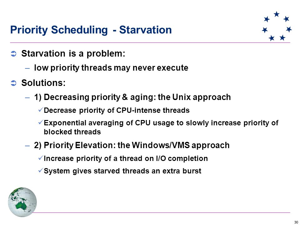 30 Priority Scheduling - Starvation  Starvation is a problem: –low priority threads may never execute  Solutions: –1) Decreasing priority & aging: the Unix approach Decrease priority of CPU-intense threads Exponential averaging of CPU usage to slowly increase priority of blocked threads –2) Priority Elevation: the Windows/VMS approach Increase priority of a thread on I/O completion System gives starved threads an extra burst