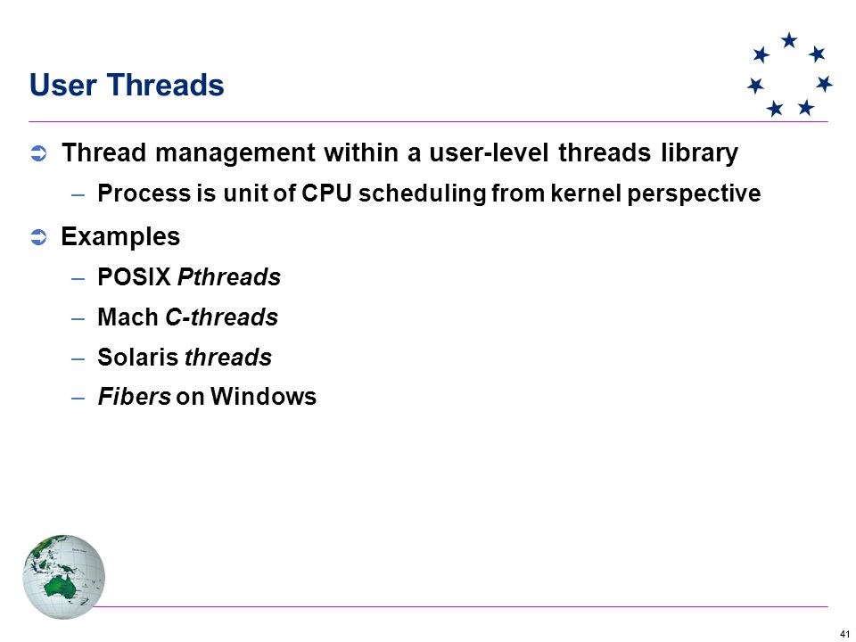 41 User Threads  Thread management within a user-level threads library –Process is unit of CPU scheduling from kernel perspective  Examples –POSIX Pthreads –Mach C-threads –Solaris threads –Fibers on Windows