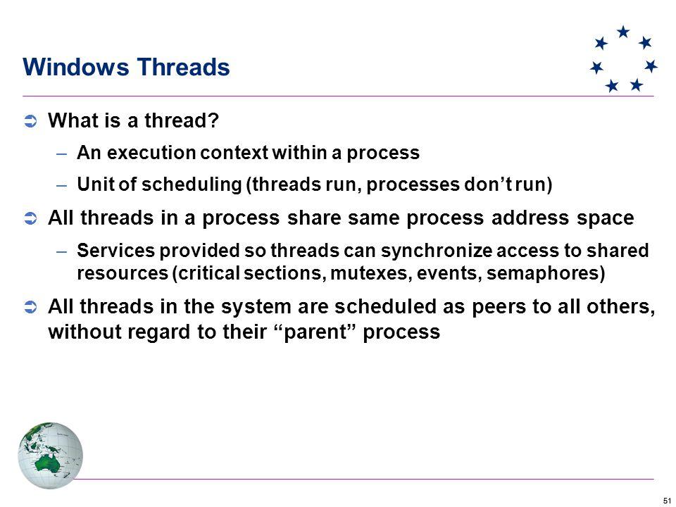 51 Windows Threads  What is a thread.