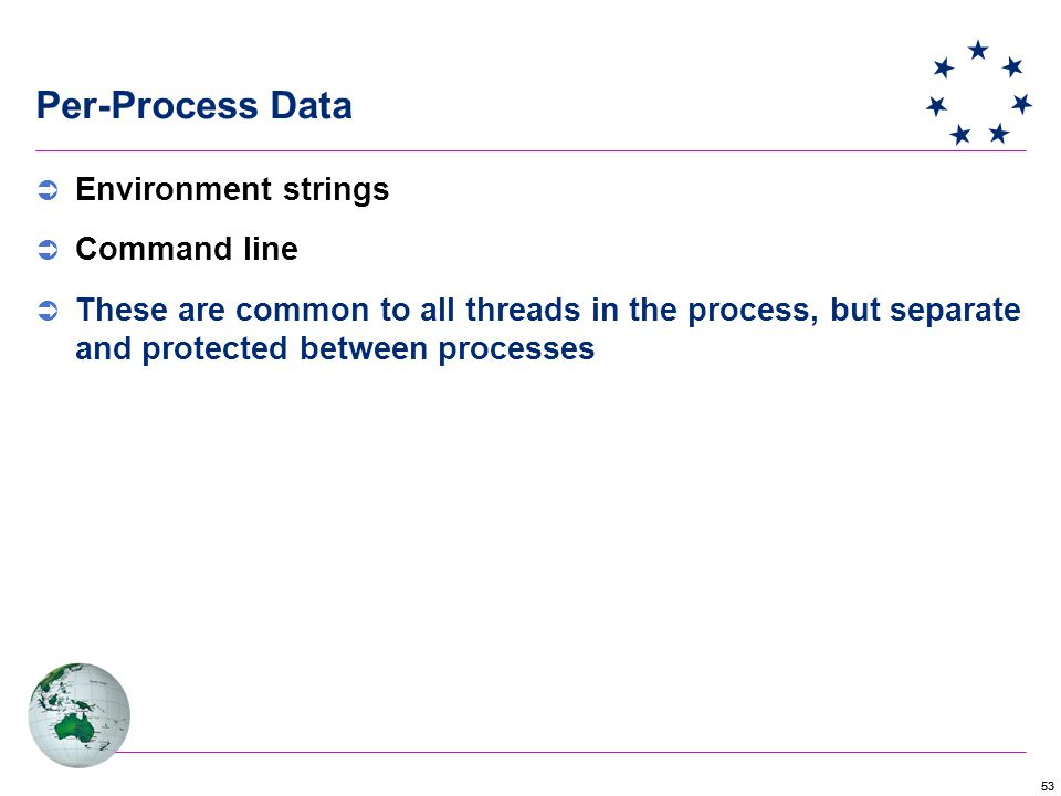 53 Per-Process Data  Environment strings  Command line  These are common to all threads in the process, but separate and protected between processes