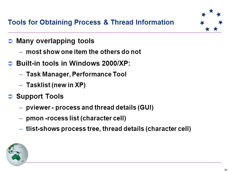 61 Tools for Obtaining Process & Thread Information  Many overlapping tools –most show one item the others do not  Built-in tools in Windows 2000/XP: –Task Manager, Performance Tool –Tasklist (new in XP)  Support Tools –pviewer - process and thread details (GUI) –pmon -rocess list (character cell) –tlist-shows process tree, thread details (character cell)
