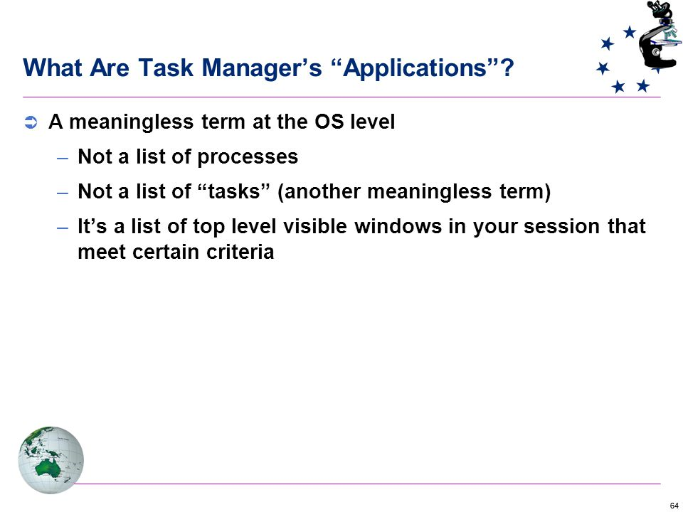 64 What Are Task Manager's Applications .