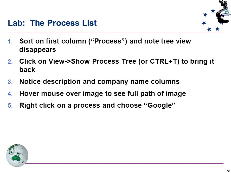70 Lab: The Process List  Sort on first column ( Process ) and note tree view disappears  Click on View->Show Process Tree (or CTRL+T) to bring it back  Notice description and company name columns  Hover mouse over image to see full path of image  Right click on a process and choose Google