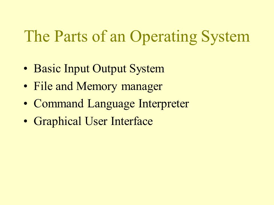 The Parts of an Operating System Basic Input Output System File and Memory manager Command Language Interpreter Graphical User Interface
