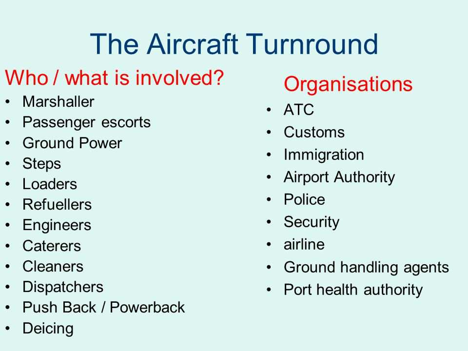 The Aircraft Turnround Who / what is involved.