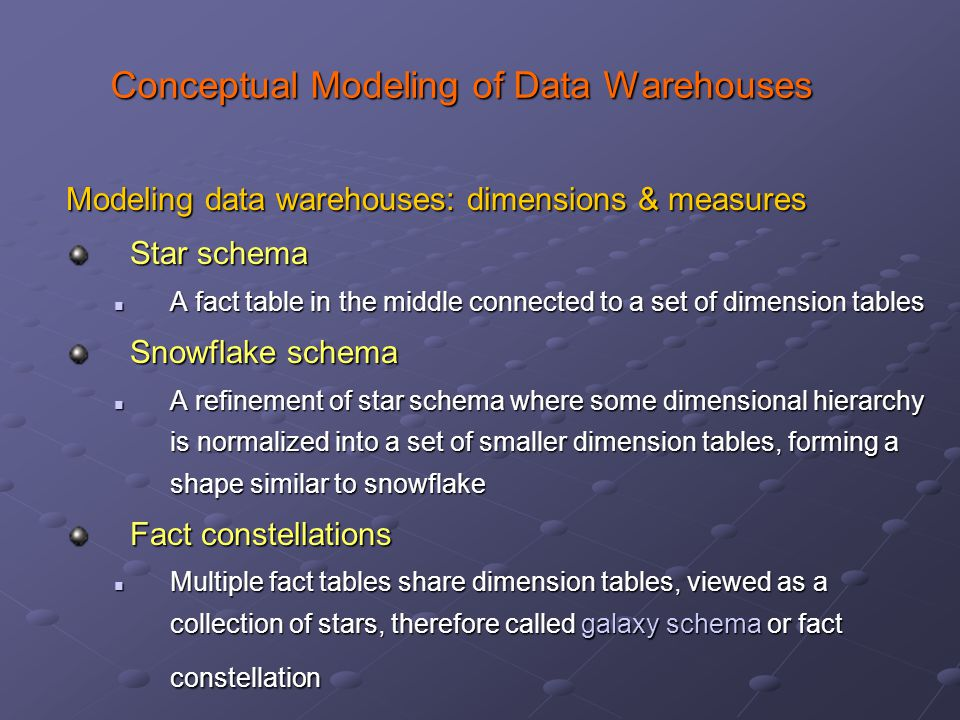 Conceptual Modeling of Data Warehouses Modeling data warehouses: dimensions & measures Star schema A fact table in the middle connected to a set of dimension tables A fact table in the middle connected to a set of dimension tables Snowflake schema A refinement of star schema where some dimensional hierarchy is normalized into a set of smaller dimension tables, forming a shape similar to snowflake A refinement of star schema where some dimensional hierarchy is normalized into a set of smaller dimension tables, forming a shape similar to snowflake Fact constellations Multiple fact tables share dimension tables, viewed as a collection of stars, therefore called galaxy schema or fact constellation Multiple fact tables share dimension tables, viewed as a collection of stars, therefore called galaxy schema or fact constellation