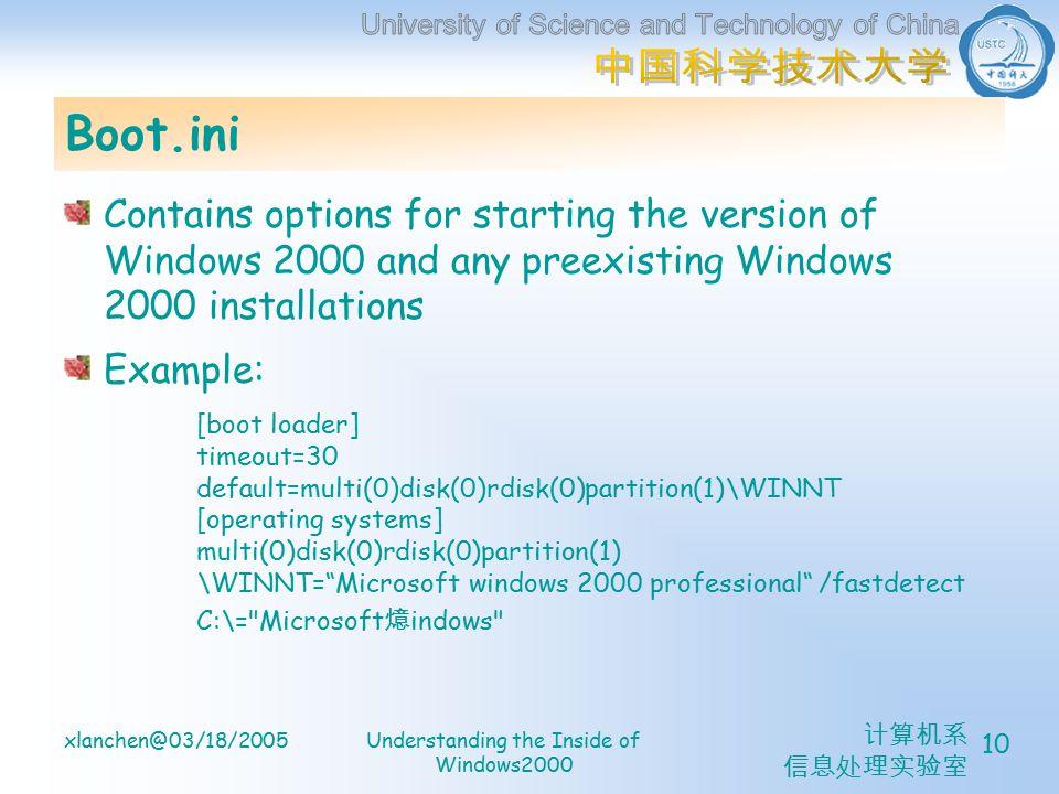 计算机系 信息处理实验室 xlanchen@03/18/2005Understanding the Inside of Windows2000 10 Boot.ini Contains options for starting the version of Windows 2000 and any preexisting Windows 2000 installations Example: [boot loader] timeout=30 default=multi(0)disk(0)rdisk(0)partition(1)\WINNT [operating systems] multi(0)disk(0)rdisk(0)partition(1) \WINNT= Microsoft windows 2000 professional /fastdetect C:\= Microsoft 燱 indows