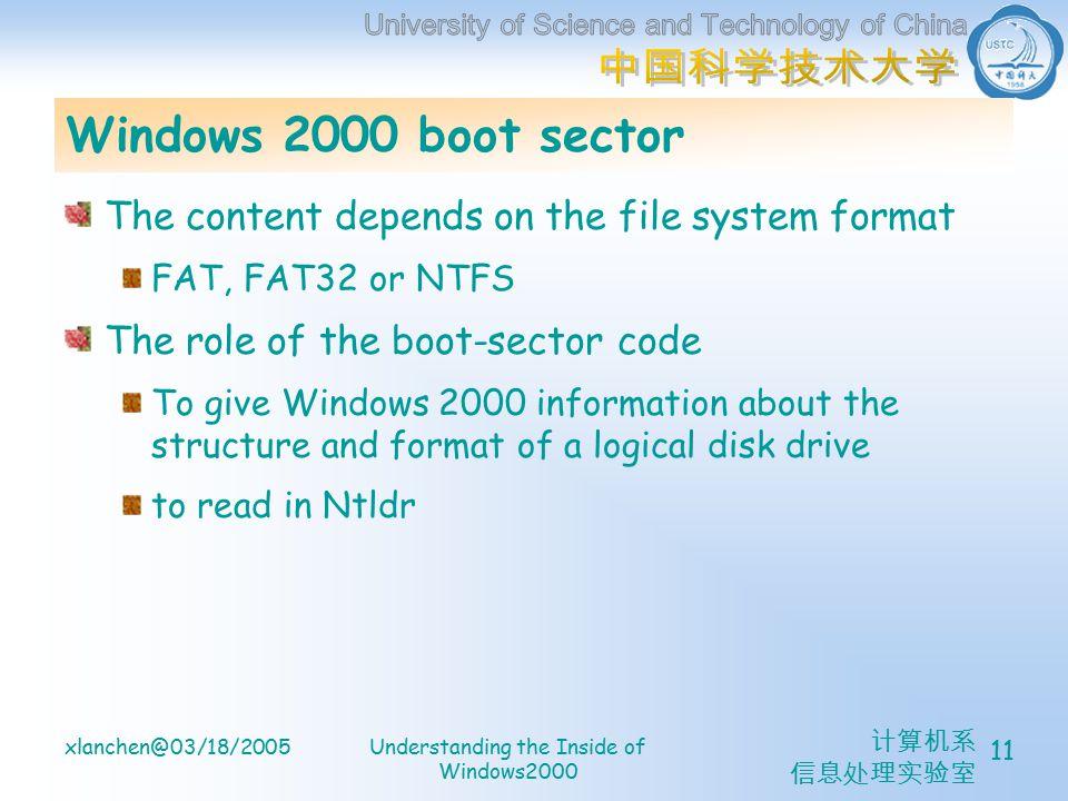 计算机系 信息处理实验室 xlanchen@03/18/2005Understanding the Inside of Windows2000 11 Windows 2000 boot sector The content depends on the file system format FAT, FAT32 or NTFS The role of the boot-sector code To give Windows 2000 information about the structure and format of a logical disk drive to read in Ntldr