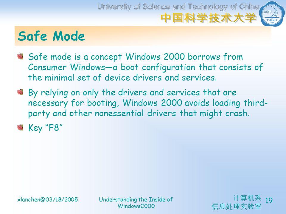计算机系 信息处理实验室 xlanchen@03/18/2005Understanding the Inside of Windows2000 19 Safe Mode Safe mode is a concept Windows 2000 borrows from Consumer Windows—a boot configuration that consists of the minimal set of device drivers and services.