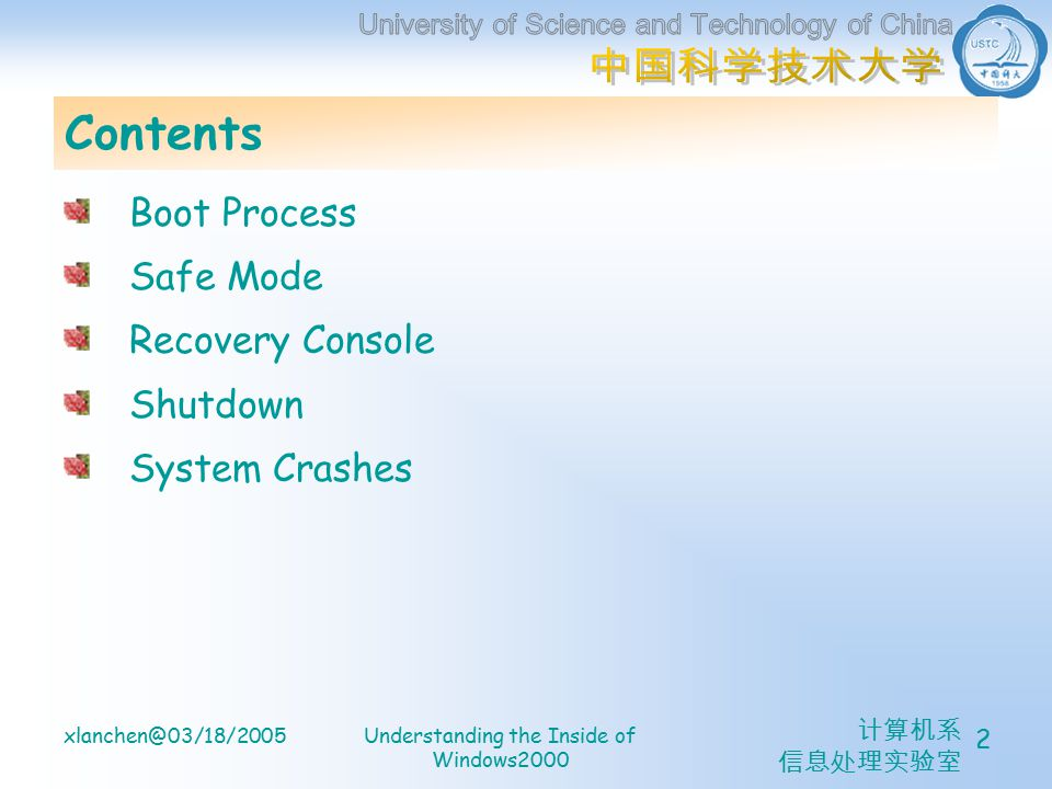 计算机系 信息处理实验室 xlanchen@03/18/2005Understanding the Inside of Windows2000 2 Contents Boot Process Safe Mode Recovery Console Shutdown System Crashes