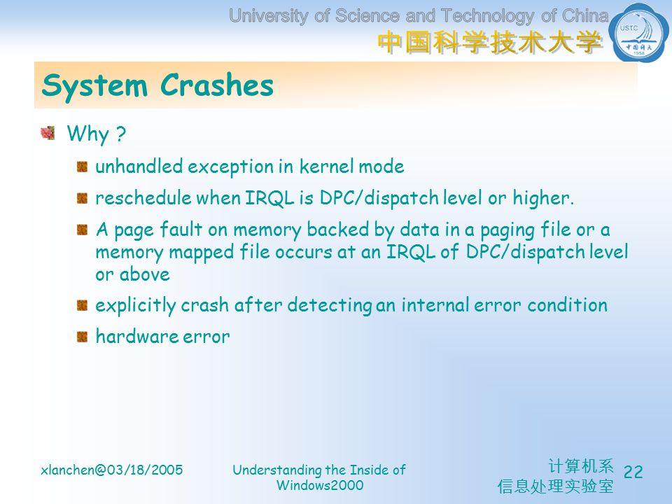 计算机系 信息处理实验室 xlanchen@03/18/2005Understanding the Inside of Windows2000 22 System Crashes Why .