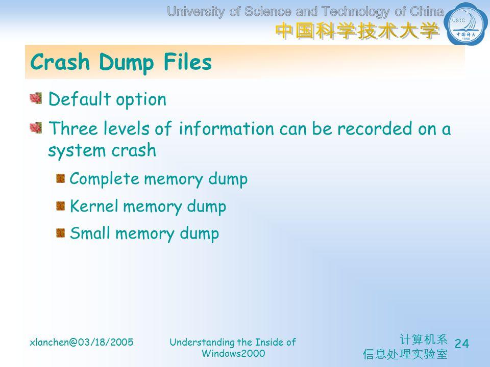 计算机系 信息处理实验室 xlanchen@03/18/2005Understanding the Inside of Windows2000 24 Crash Dump Files Default option Three levels of information can be recorded on a system crash Complete memory dump Kernel memory dump Small memory dump