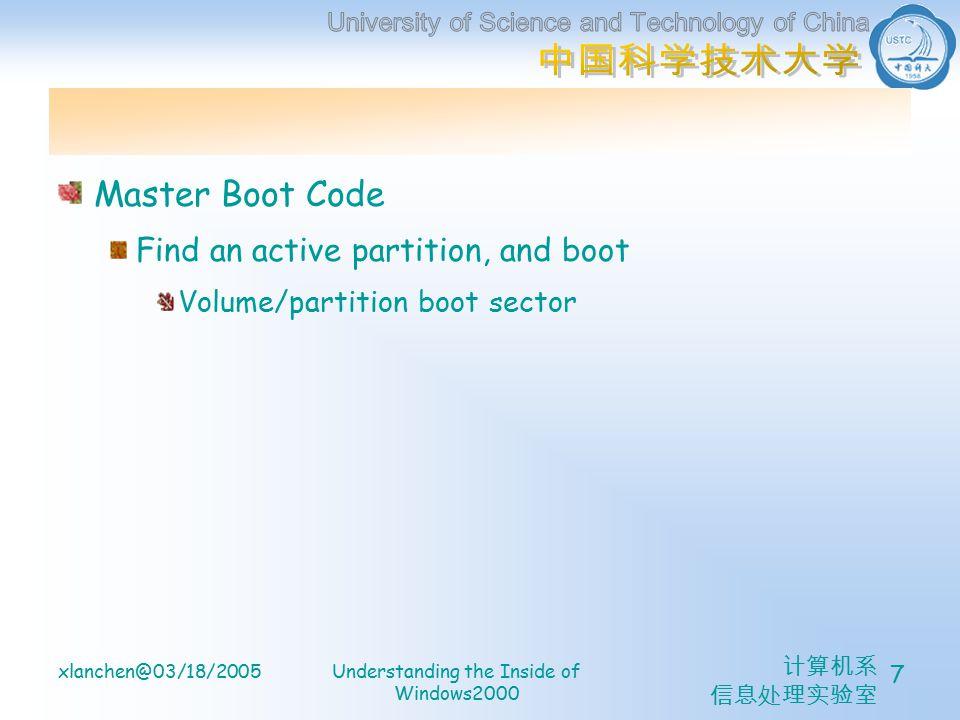 计算机系 信息处理实验室 xlanchen@03/18/2005Understanding the Inside of Windows2000 7 Master Boot Code Find an active partition, and boot Volume/partition boot sector