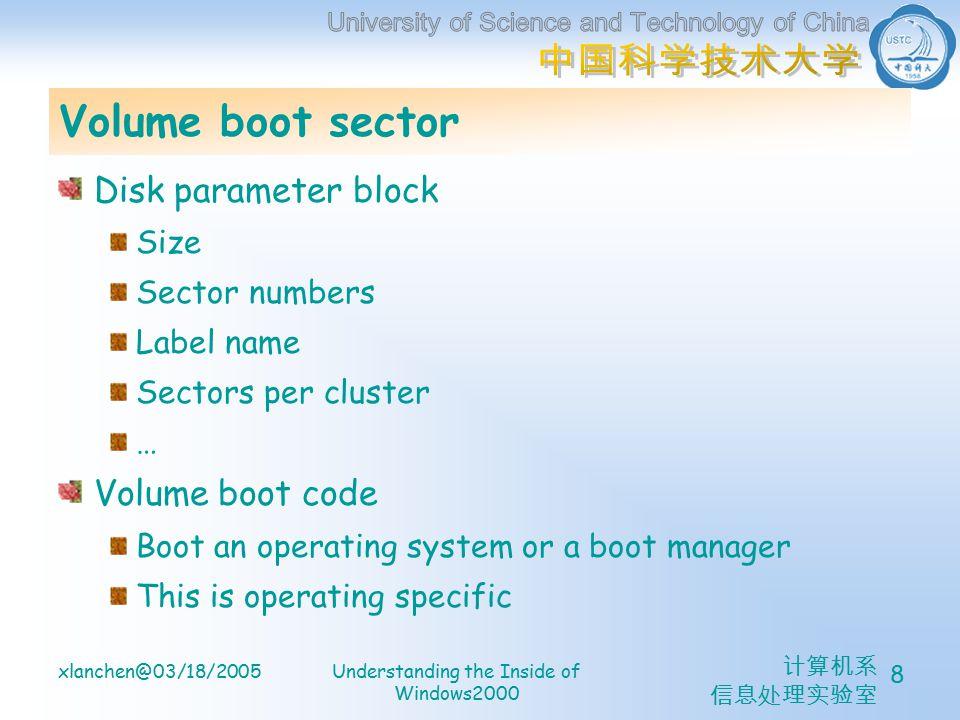 计算机系 信息处理实验室 xlanchen@03/18/2005Understanding the Inside of Windows2000 8 Volume boot sector Disk parameter block Size Sector numbers Label name Sectors per cluster … Volume boot code Boot an operating system or a boot manager This is operating specific