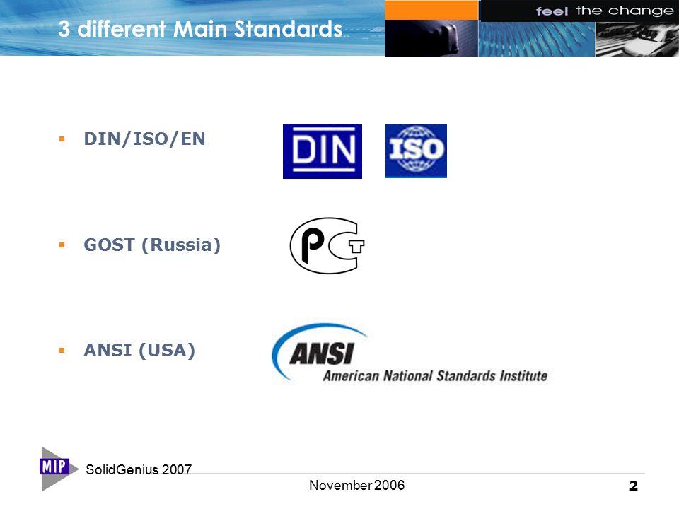 SolidGenius 2007 2 November 2006 3 different Main Standards  DIN/ISO/EN  GOST (Russia)  ANSI (USA)
