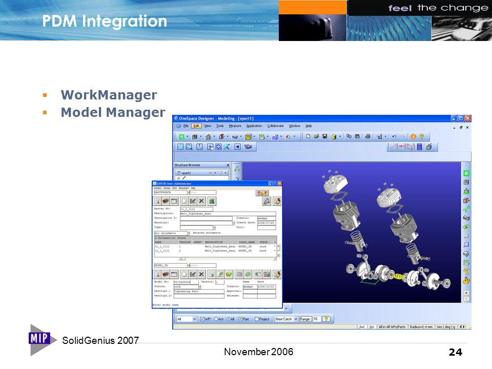 SolidGenius 2007 24 November 2006 PDM Integration  WorkManager  Model Manager