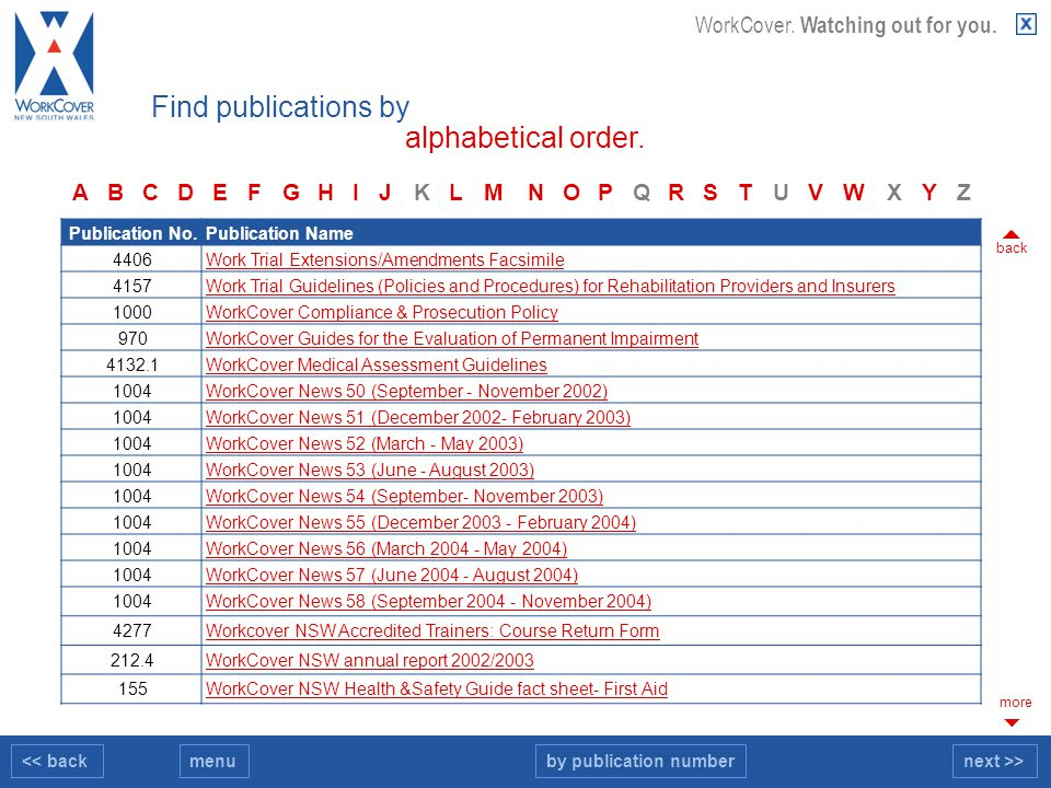 << backnext >>menu WorkCover. Watching out for you. Find publications by alphabetical order. Publication No.Publication Name 4406Work Trial Extensions