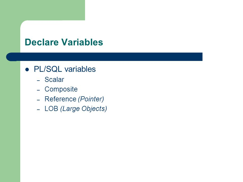 Declare Variables PL/SQL variables – Scalar – Composite – Reference (Pointer) – LOB (Large Objects)