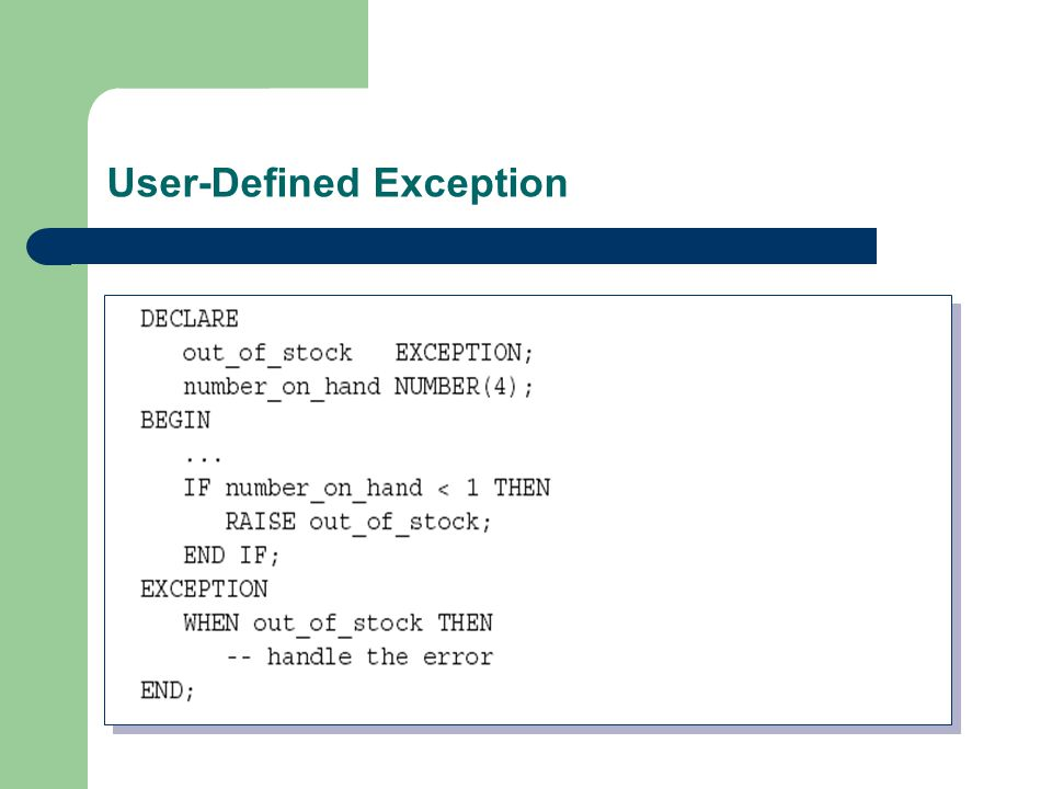 User-Defined Exception