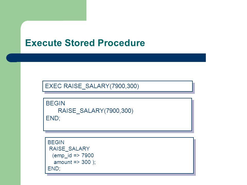 Execute Stored Procedure EXEC RAISE_SALARY(7900,300) BEGIN RAISE_SALARY(7900,300) END; BEGIN RAISE_SALARY(7900,300) END; BEGIN RAISE_SALARY (emp_id => 7900 amount => 300 ); END; BEGIN RAISE_SALARY (emp_id => 7900 amount => 300 ); END;