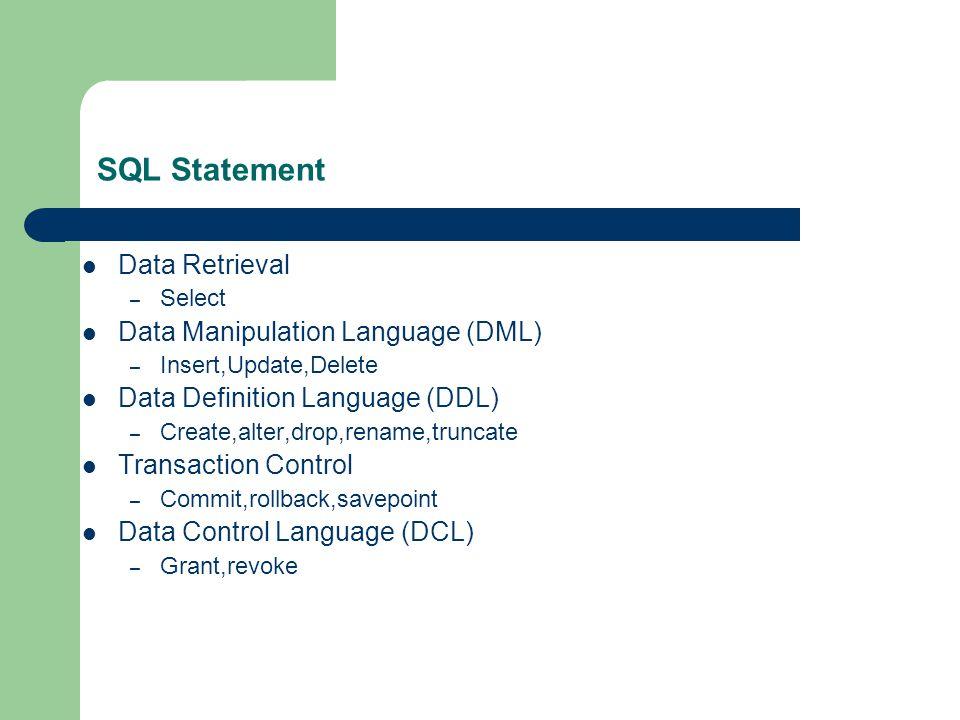 SQL Statement Data Retrieval – Select Data Manipulation Language (DML) – Insert,Update,Delete Data Definition Language (DDL) – Create,alter,drop,rename,truncate Transaction Control – Commit,rollback,savepoint Data Control Language (DCL) – Grant,revoke