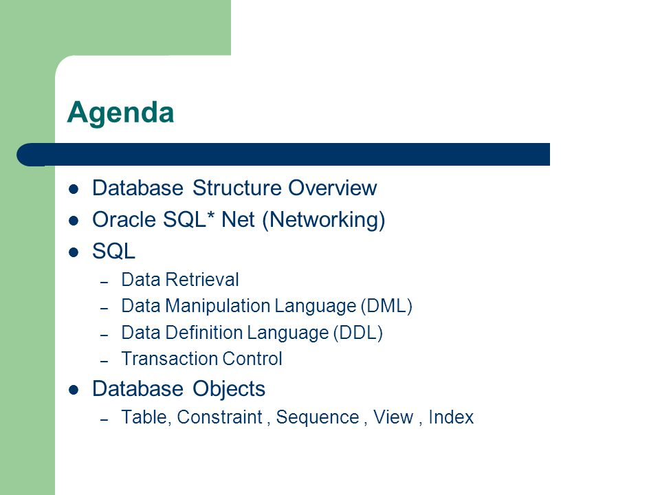 Agenda Database Structure Overview Oracle SQL* Net (Networking) SQL – Data Retrieval – Data Manipulation Language (DML) – Data Definition Language (DDL) – Transaction Control Database Objects – Table, Constraint, Sequence, View, Index