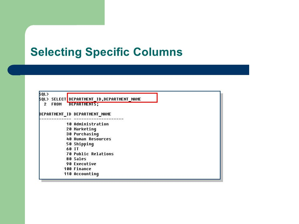 Selecting Specific Columns