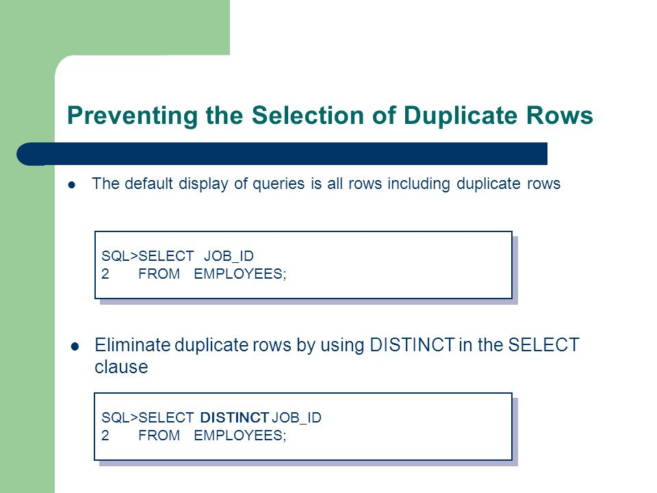 Preventing the Selection of Duplicate Rows The default display of queries is all rows including duplicate rows Eliminate duplicate rows by using DISTINCT in the SELECT clause SQL>SELECT JOB_ID 2 FROM EMPLOYEES; SQL>SELECT JOB_ID 2 FROM EMPLOYEES; SQL>SELECT DISTINCT JOB_ID 2 FROM EMPLOYEES; SQL>SELECT DISTINCT JOB_ID 2 FROM EMPLOYEES;