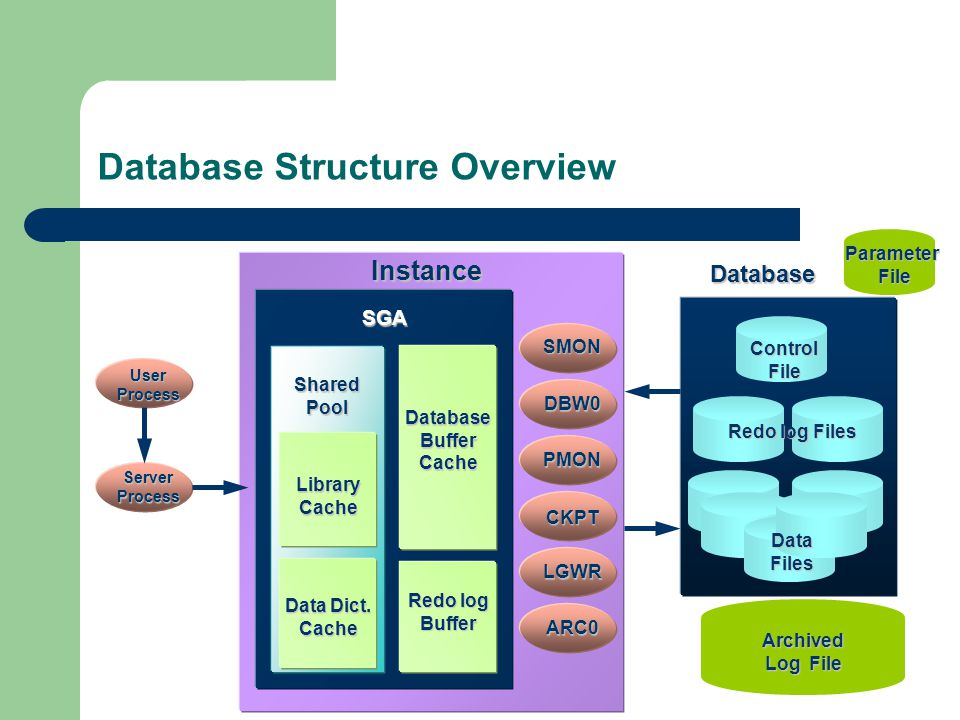Database Structure Overview Control File Redo log Files Data Files Parameter File File Archived Log File Instance Database SGA SharedPool LibraryCache Data Dict.