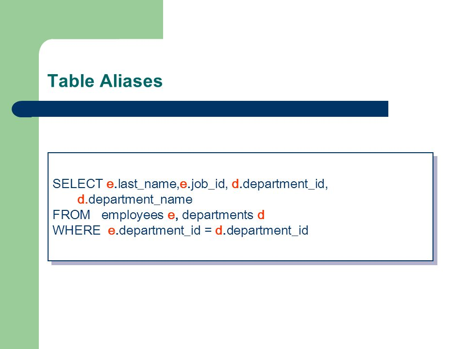 Table Aliases SELECT e.last_name,e.job_id, d.department_id, d.department_name FROM employees e, departments d WHERE e.department_id = d.department_id SELECT e.last_name,e.job_id, d.department_id, d.department_name FROM employees e, departments d WHERE e.department_id = d.department_id
